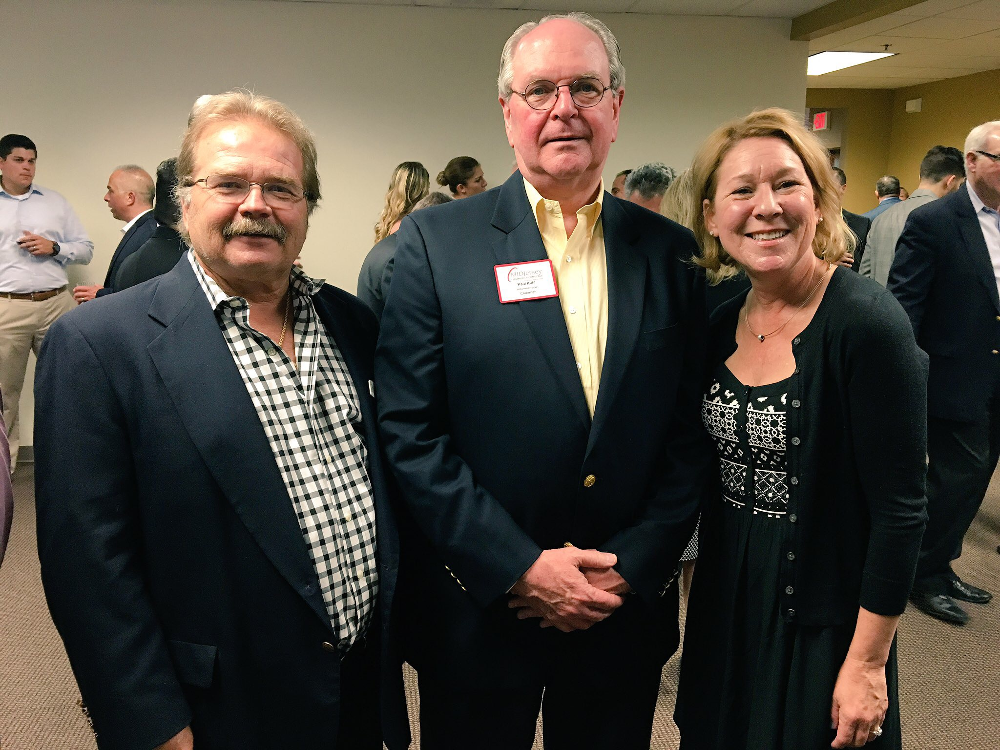 Jeffrey Barnhart, CEO and president of CMA, Paul Kuhl, chair of the MIDJersey Chamber of Commerce and senior manager at withum and Linda Kelly, business development at MIDJersey Chamber are pictured at a wine tasting to benefit Trenton Digital Initiative at Ancero in Mount Laurel.