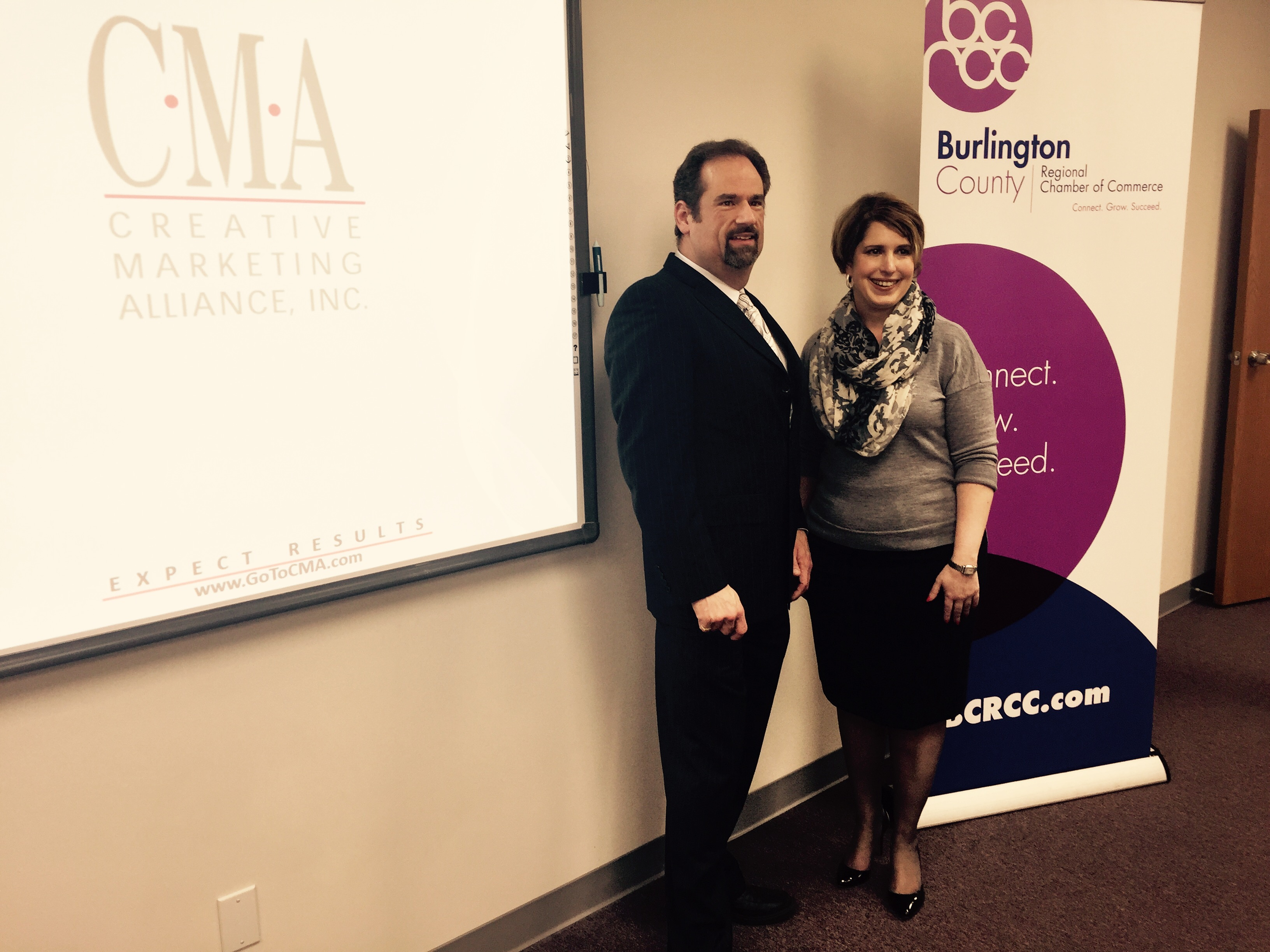 Kenneth Hitchner, public relations and social media director at CMA and Kristi Howell, BCRCC president. CMA recently rebranded the BCRCC.
